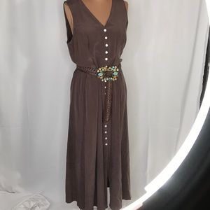 Chocolate Silk Duster Button Down Boho Dress Small